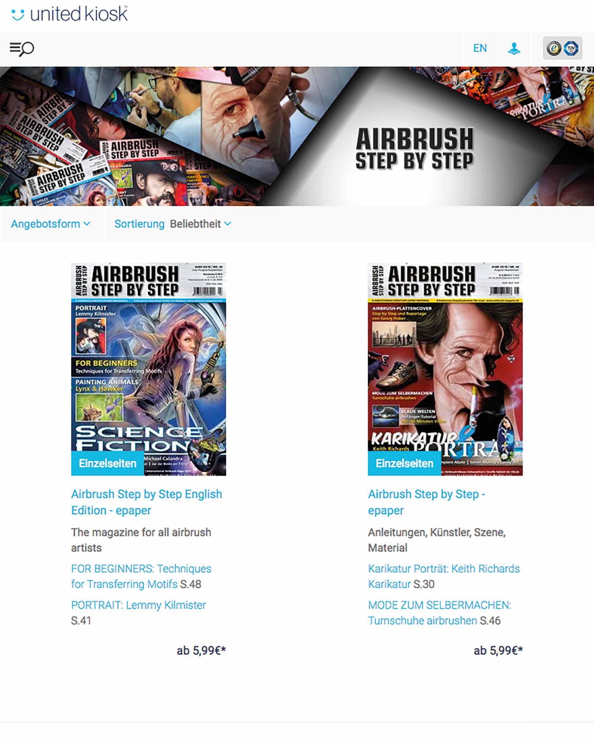 Neue Airbrush Step by Step epaper-Plattform und digitales Abonnement