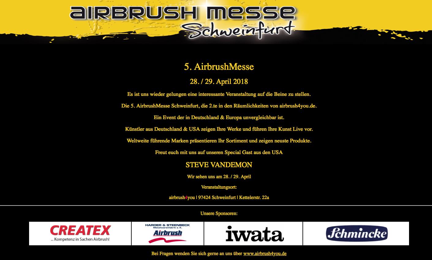 Airbrush4you lädt ein zur 5. Airbrush-Messe Schweinfurt