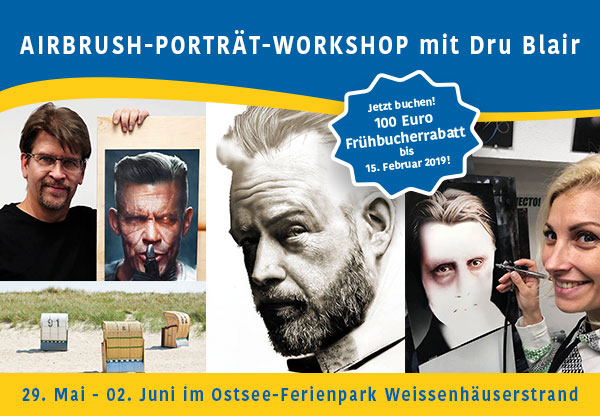 Airbrush Step by Step Holidays 2019: Airbrush-Porträt-Workshop mit Dru Blair an der Ostsee