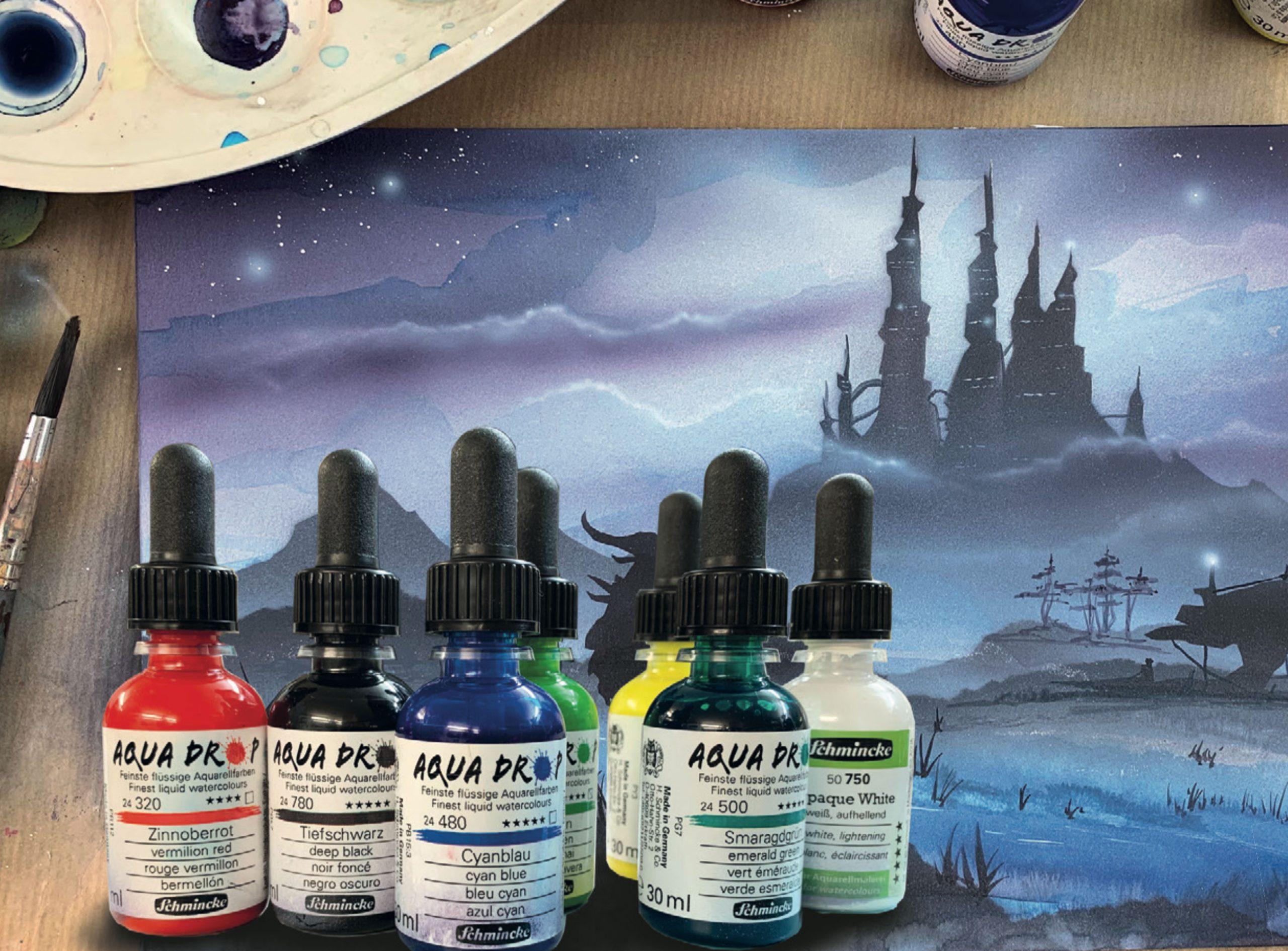 Schmincke Aqua Drop: Flüssige Aquarellfarben für hochwertige Airbrush-Illustrationen