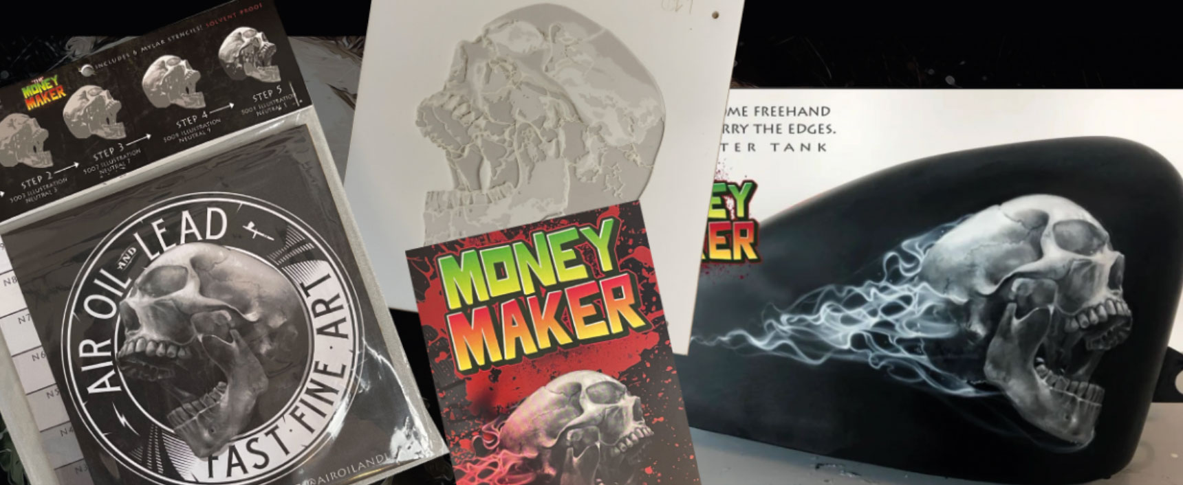 The Money Maker: Sechsteiliges Totenkopf-Schablonenset von Steve Gibson